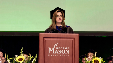 Peggy Agouris speaks at a GMU College of Science graduation event. (Photo courtesy of GMU Creative Services)