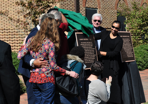 A plaque for Lemon Hall is unveiled in 2016. The residence hall was renamed for Lemon, a man enslaved by the university. (Photo courtesy of the Lemon Project)