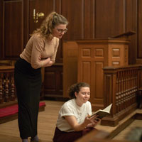 "A scene from ""... & Mary"" in rehearsal at the Wren Building. (Photo by Nicholas Meyer '22)"