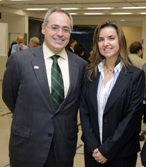 George Mason President Ángel Cabrera (left) with Peggy Agouris (Photo courtesy of GMU Creative Services)