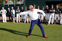 Joe Plumeri throws the opening pitch at the 20th anniversary game at Plumeri Park.