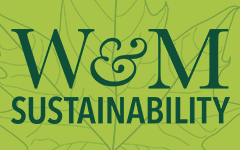 A logo that says W&M Sustainability and has a leaf in the background