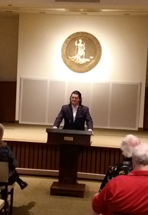 Chuck Williamson speaking at the Virginia War Memorial as part of The Mighty Pen project. (Courtesy photo)