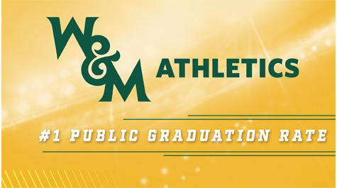 W&M Athletics number one public graduation rate text graphic