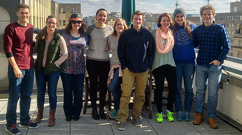 The research team of undergraduate students from William & Mary and Millersville University poses for a group photo on a rooftop in Washington, D.C.