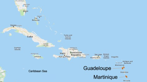 A map of the Caribbean Islands