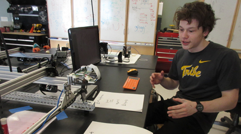 Aidan Connor demonstrates his equation-solving mathbot