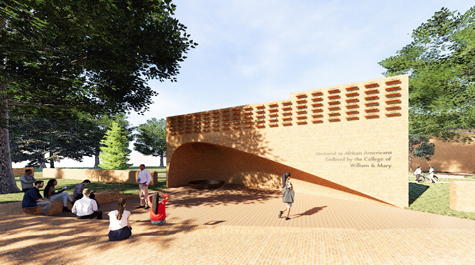 An artists rendering of the memorial concept which includes a brick, hearth-like structure