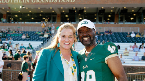Huge with Warren Winston '72, the first African American scholarship student athlete at William & Mary
