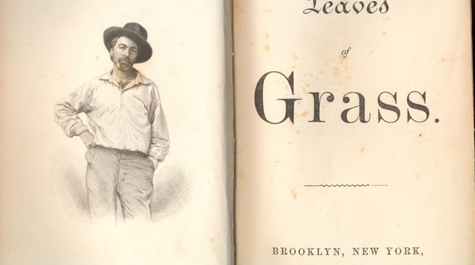 Young Walt Whitman and inside cover of Leaves of Grass