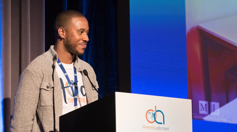 Lamar Shambley '10, founder of the organization, speaks at a Diversity Abroad conference.