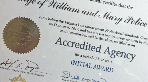 A close-up on the accreditation certificate