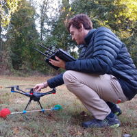 Timothy Boycott collects data using a drone