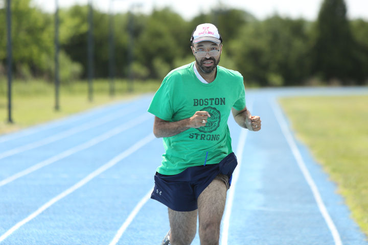 Michael Davis runs the track at Langley AFB.