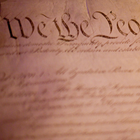 Photograph of the preamble to the U.S. Constitution