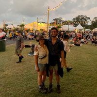 Patrick Abboud (right) and his sister, Sarah Abboud, at the Byron Bay Bluesfest in Australia in 2019. (Courtesy photo)