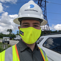 Ryan Chaban wearing hard hat and mask