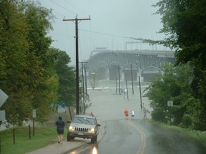 Storm surge covers Gloucester Point, Virginia during Hurricane Isabel in 2003. (VIMS photo)
