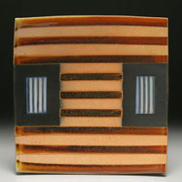 A striped ceramic platter by David Crane (Courtesy photo)