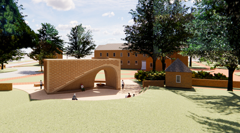 An artist's rendering shows a rectangular brick structure with an asymmetrical space at the bottom surrounded by green space and the Wren Building in the background