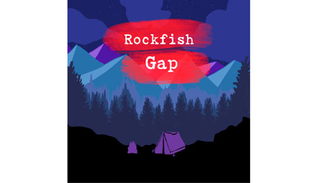 Blue graphic of mountains and trees with red Rockfish Gap words