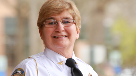 Closeup portrait shot of WMPD Chief Deb Cheesebro