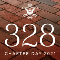 A graphic with a brick sidewalk with text saying 328 Charter Day