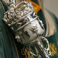 The top of a silver mace