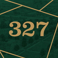 327 on a green background with gold lines surrounding it