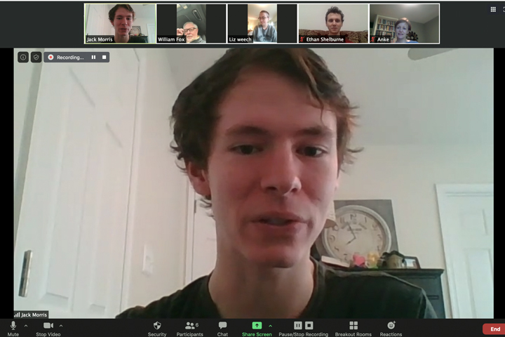 Jack Morris discusses his team's high placement in the COMAP international math competition in a Zoom session