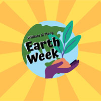 Earth week illustration with hand holding a plant