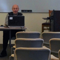Osher Institute instructor Bill Riffer teaches his course in an empty classroom