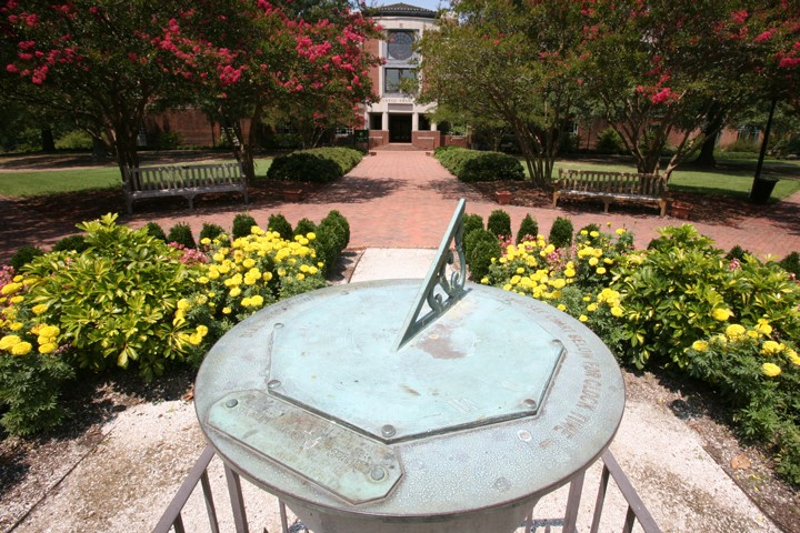 Sundial with Swem Library in background
