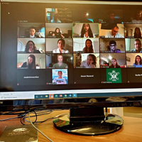 Computer screen with video chat