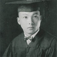 Pu-Kao Chen wearing a cap and gown in a black and white photo