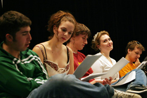 A student play is read by (from left) Tom Bambara, Victoria Eddy, Chris Boyd, Erin Zimmerman and Noah Foreman. Photo by David Williard.