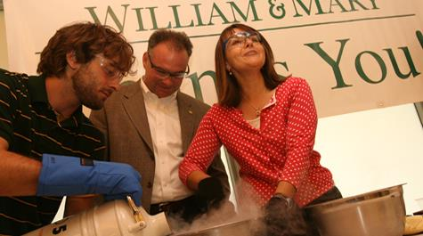 Gov. Kaine, flanked by student Lee Speight (l) and professor Lisa Landino (r), helped prepare some chemistry ice cream.