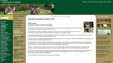 W&M Web site through the years