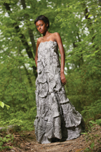 Hispanic studies/international relations major Kendall Simmons '09 wears a strapless pewter dress of silk fuxico that grow as they reach the earth.