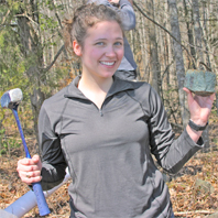 Kristi Dorfler '09 with crack hammer and sample.