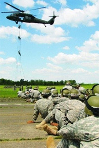 Cadets practice rappelling from a helicopter during Air Assault School. (Courtesy photo)