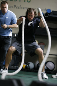 Durkin with Drew Brees (Photo courtesy of Fitness Quest 10)