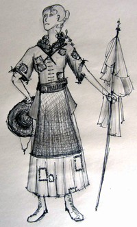 An early conceptual sketch that Allar created to help define the look of the villagers.