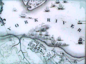 A historical map showing some of the vessels scuttled in the York River during the siege and Battle of Yorktown in 1781. Photo courtesy of the Jamestown-Yorktown Foundation.