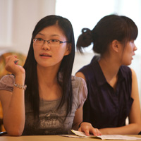 Freshman Yuting Feng from Nantong, China, sits in a seminar at the Reves Center for International Studies