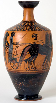 Black Figure Lekythos, 520 - 510 B.C. Phanyllis Group, Terracotta. Chrysler Museum of Art
