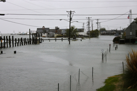 Flooding of Atlantic Avenue in Wachapreague, Va., during the passage of Hurricane Sandy.