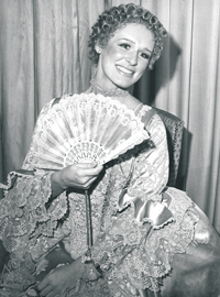Glenn Close '74, D.A. '89 in a scene from the 1974 production of Love for Love, a New Phoenix Repertory Company production in New York.