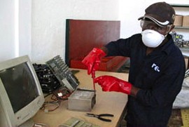 Recycling of electronic waste requires care. Photo courtesy of re-, a South African environmental solutions company.