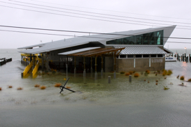 The new seawater facility at VIMS' Eastern Shore Lab in Wachapreague stayed dry as designed during minor coastal flooding associated with Hurricane Sandy.